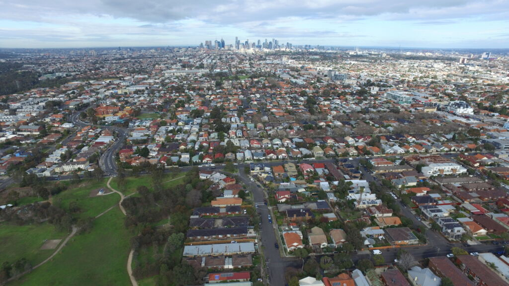Aerial view of Moreland looking south towards CBD
