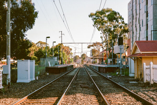 Photo of section of upfield train line taken from between the tracks looking north