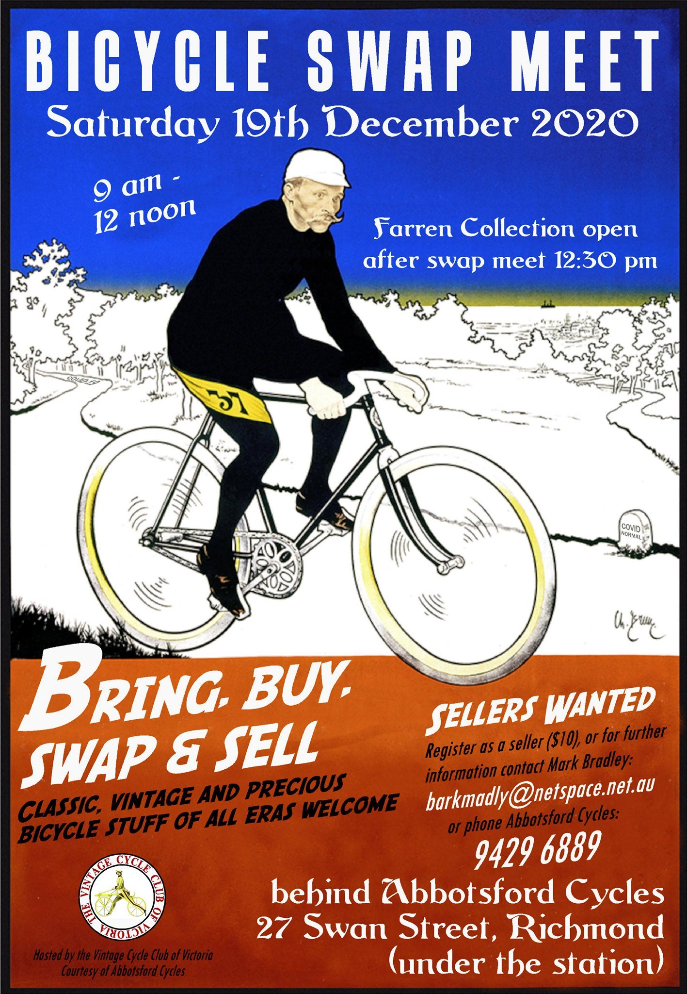Poster for bicycle swap meet event (details repeated below)