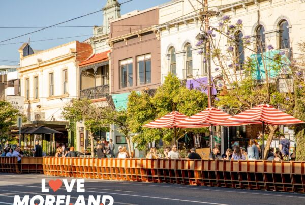 Lygon St Brunswick with new parklets set up outside dining businesses