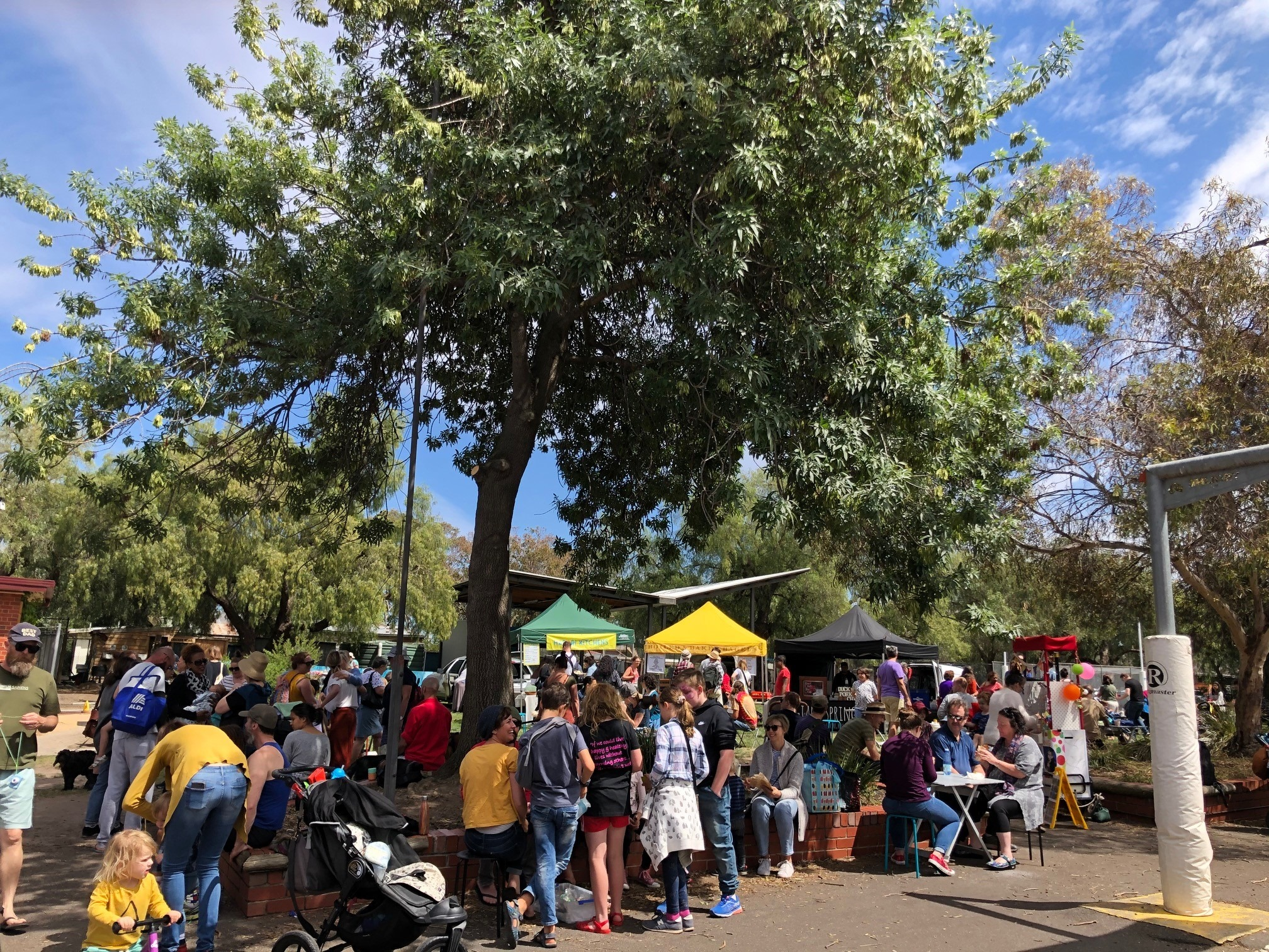 Crowd of people gathering around market stalls under a large tree