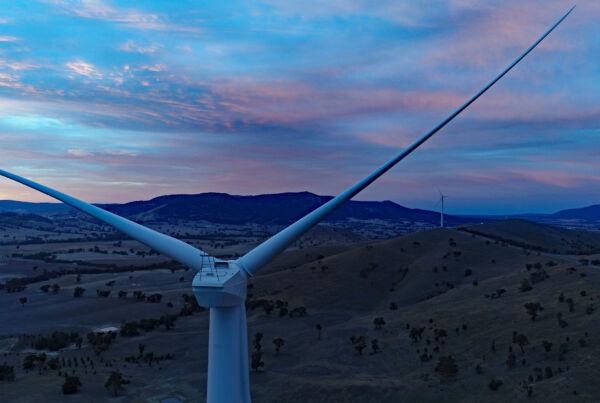 Wind farm at Crowlands wind farm at dusk overlooking hilly ranges