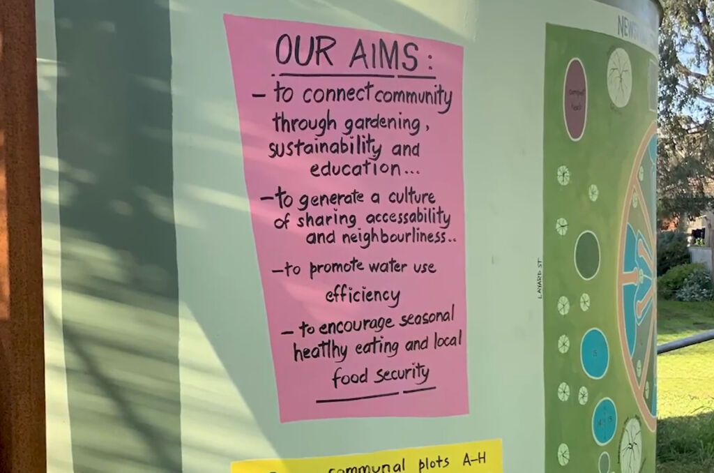 Hand written list of aims about connecting to the community, being sustainable on the side of building