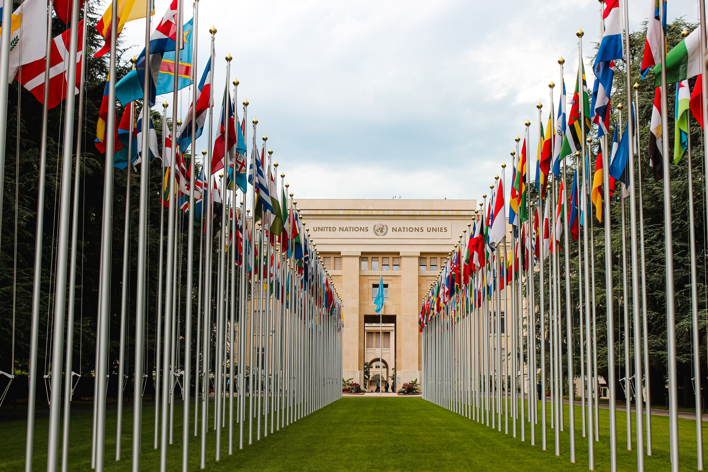 Dozens of flagpoles with international country flags in front of a United Nations building